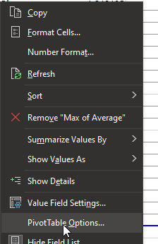Right-click PivotTable options