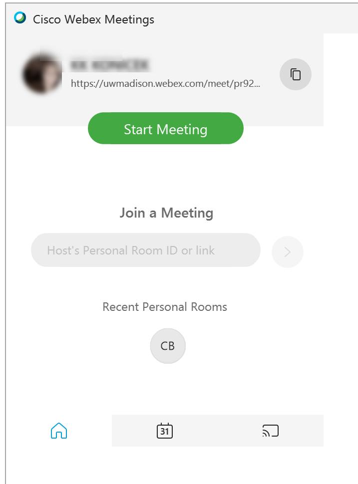 Cisco Webex starting screen -desktop application