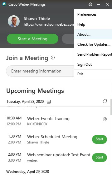 Webex Meetings Desktop App