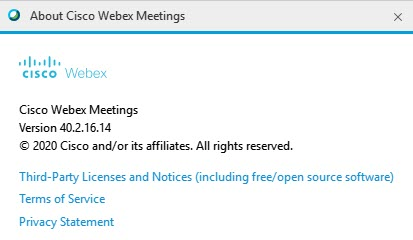 Webex Desktop App Version