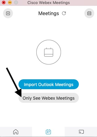 Shows Link labeled Only See Webex Meetings