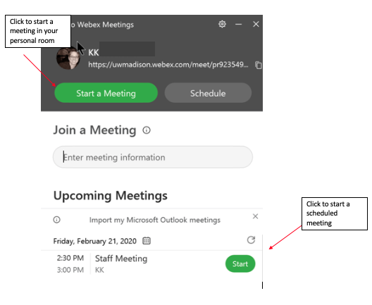 Start meeting through Webex app
