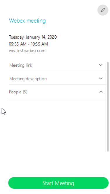 Details of Webex Meeting in MS Teams