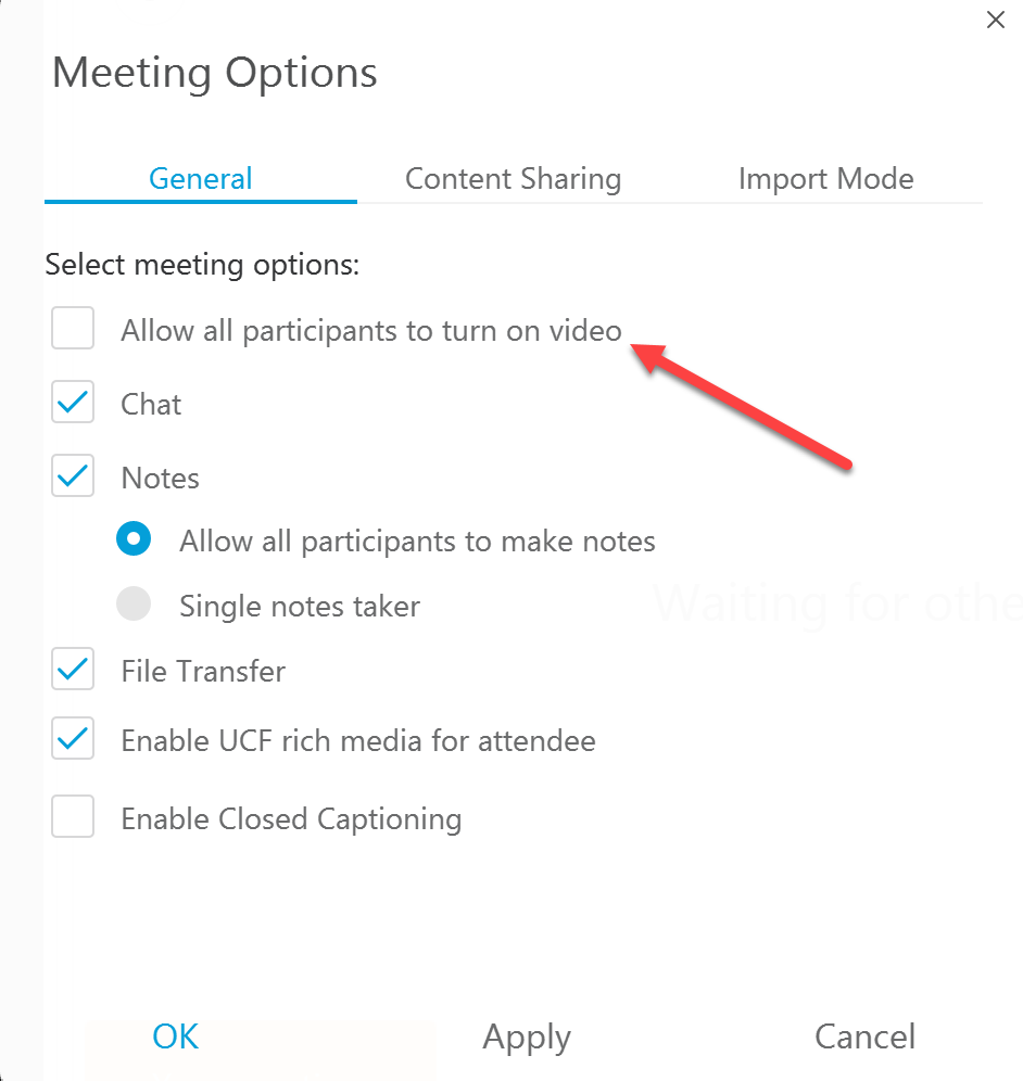 Turn Video off on Webex for Participants