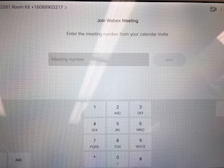 Screen to type in meeting number on Touch10