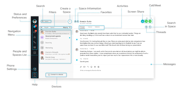 Webex Teams Interface
