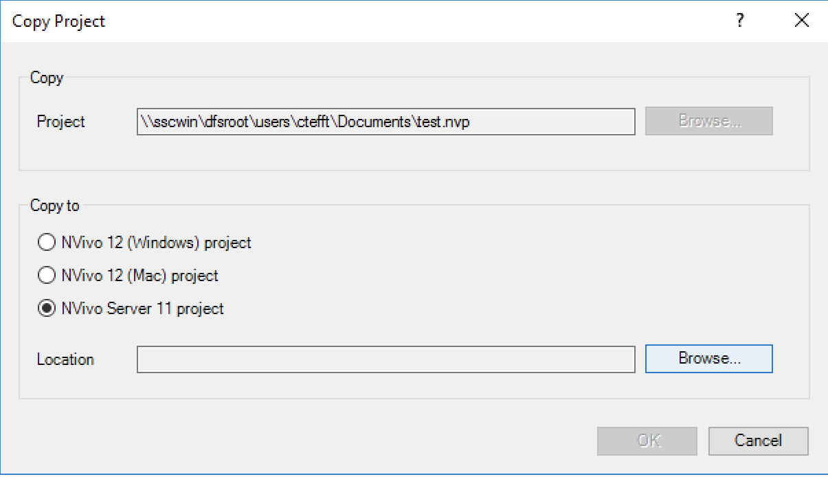 Copying a Project to NVivo Server