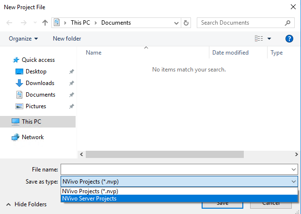Changing Save as type to NVivo Server Projects