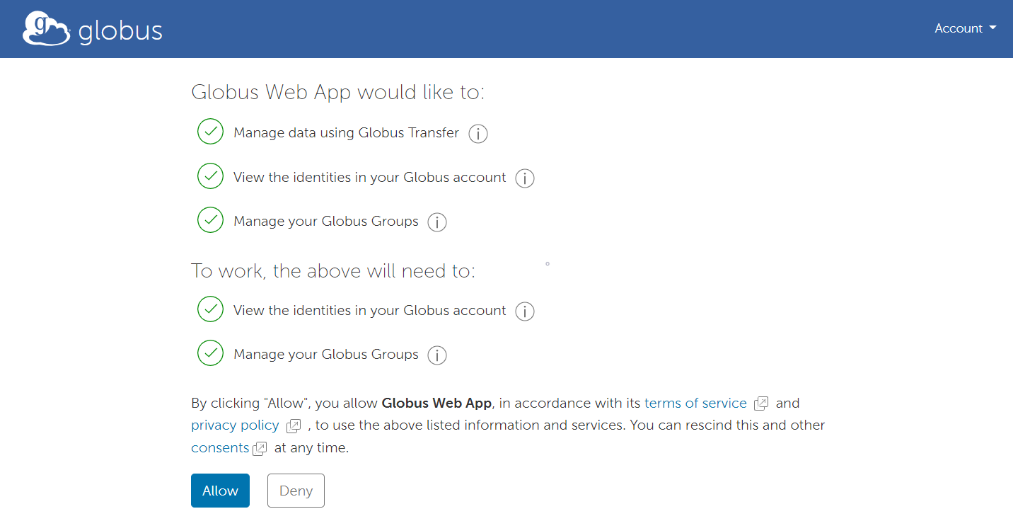 Allow or Deny Globus Permissions