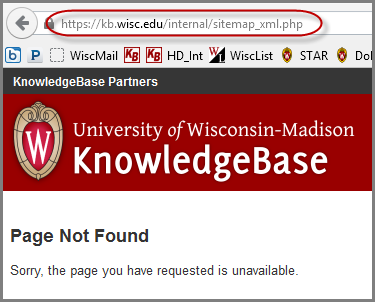 Page Not Found error for internal sitemap URL