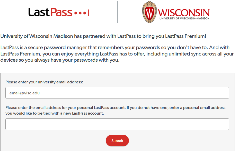 UW Madison LastPass Premium Partner Signup Form