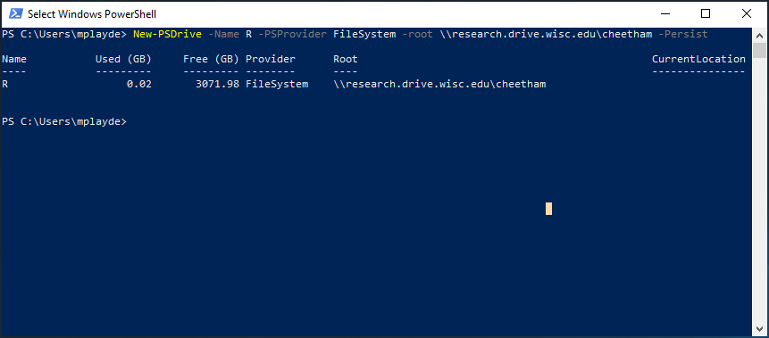 map drive from powershell