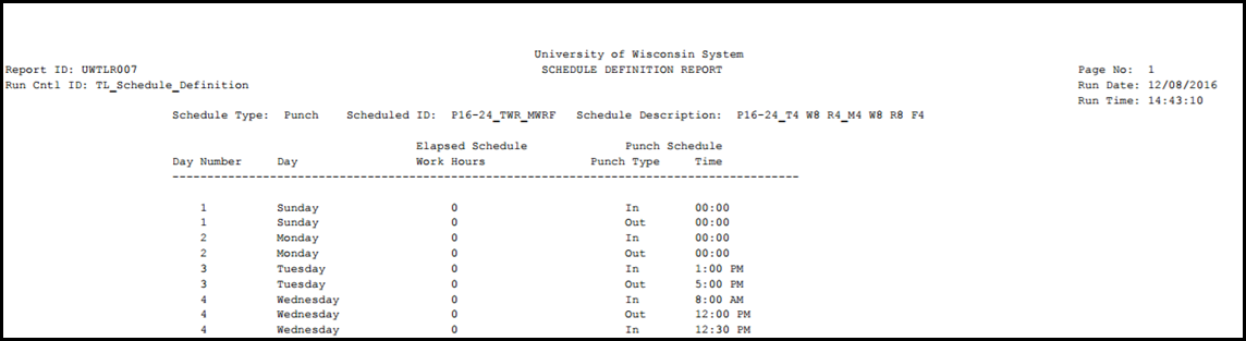 TL Schedule Definition