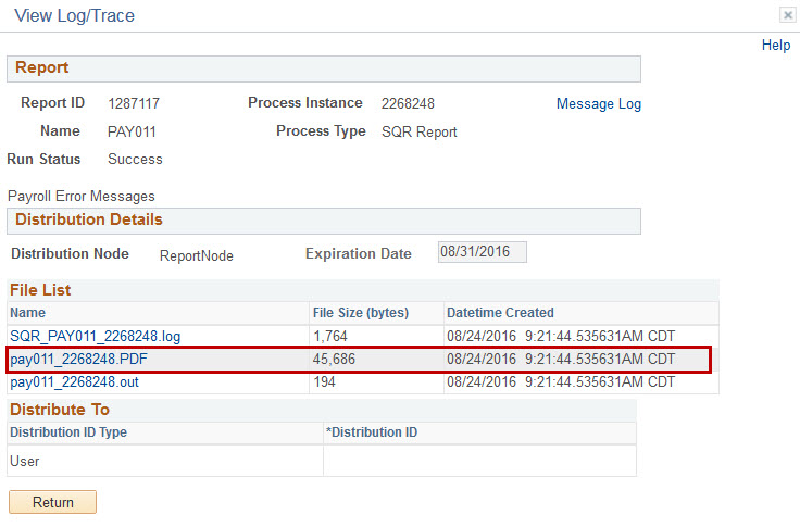 9.2 Payroll Report View Trace/Log