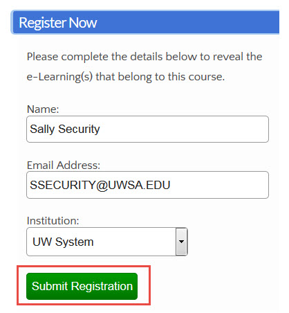 LMS Security Awareness Submit Registration