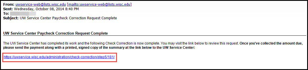 UWSC Paycheck Correction