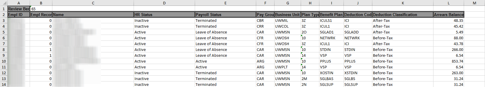 UW_BN_REVIEW_ARREARS Excel Spreadsheet