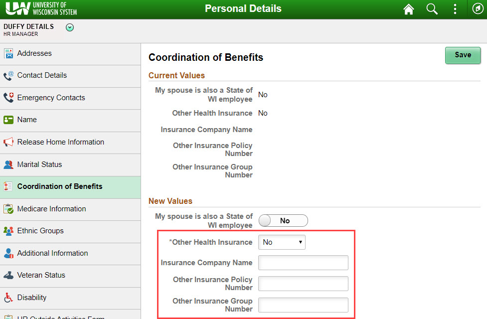 update other health insurance information