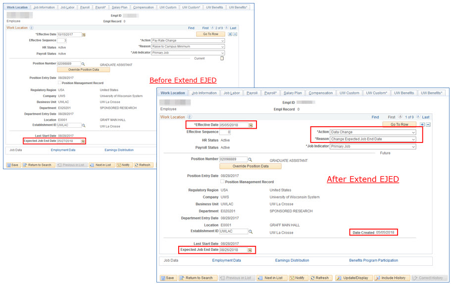 Job Data examples for Extend Employee (Y)