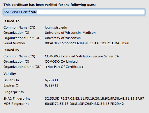 Extended Validation Certificate Information