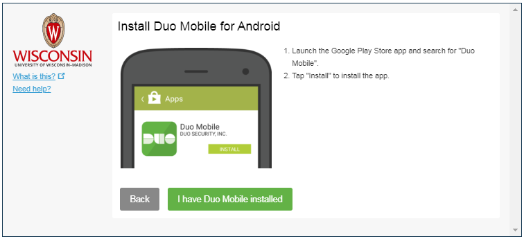 Prompt to verify that Duo is installed on the desired device