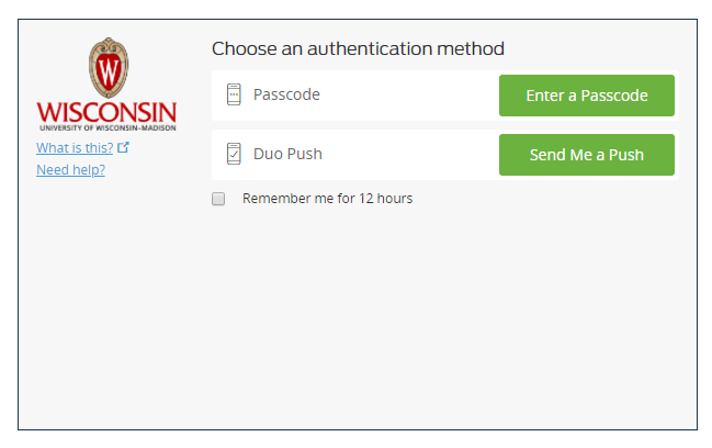 Duo authentication prompt with options to send push or enter a passcode