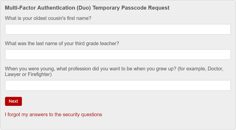 Duo passcode request page with three security questions