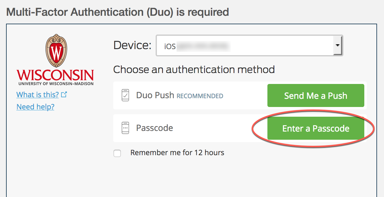 Duo prompt with options to send a push or enter a passcode - enter a passcode is highlighted and should be used with the temporary passcode that was generated