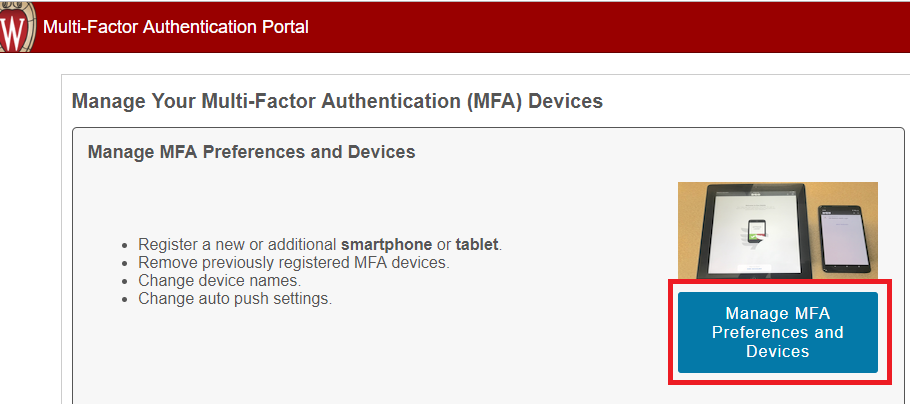 UW-Madison MFA Portal Manage Preferences and Devices Button