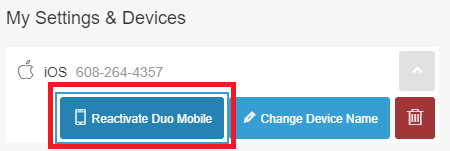 Click Reactivate Duo Mobile