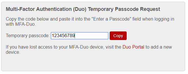 MFA Temporary Passcode Prompt