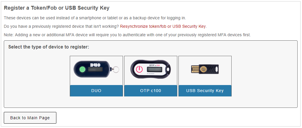 selection of three devices:  duo, otp c100, and USB Security Key