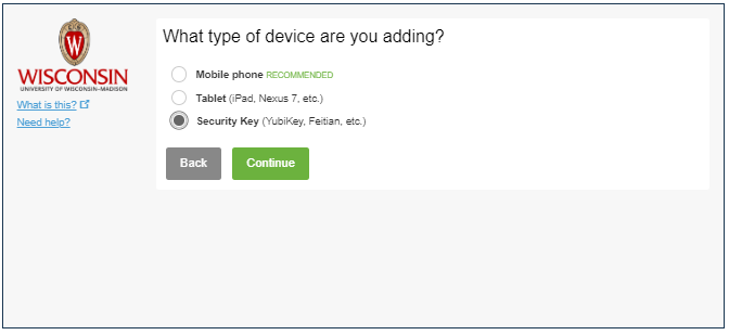 selection of three device types:  mobile phone, tablet, and security key