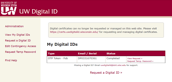 "1. Start ""UW Digital ID site with a list of options on the left side, including Request a Digital ID"