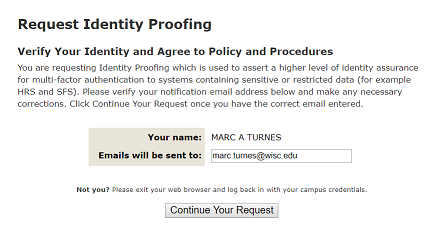 3. Identity Proofing request confirmation page with a prompt to enter in an email address.