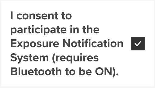 Exposure Notifications toggle