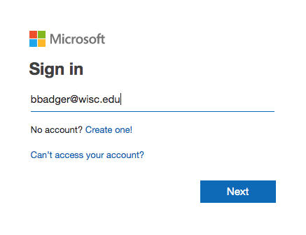 Image not available, shows how to sign in with UW account