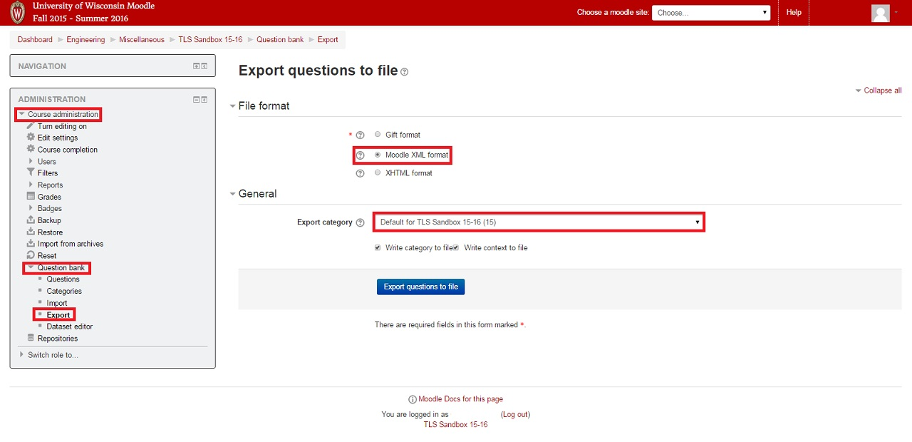 Interface for exporting Questions