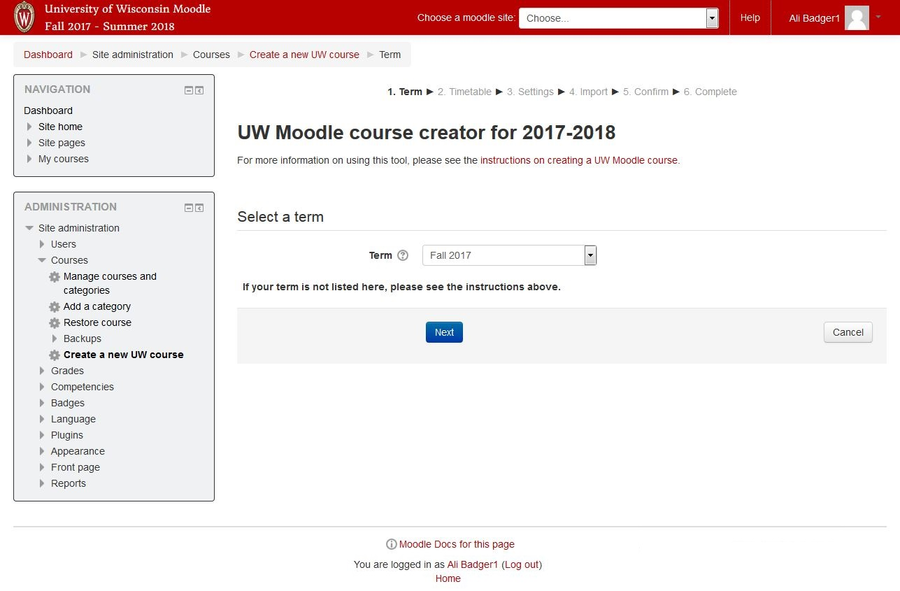 Screenshot of UW Moodle Course Creator step 1. Choose term from the dropdown menu.