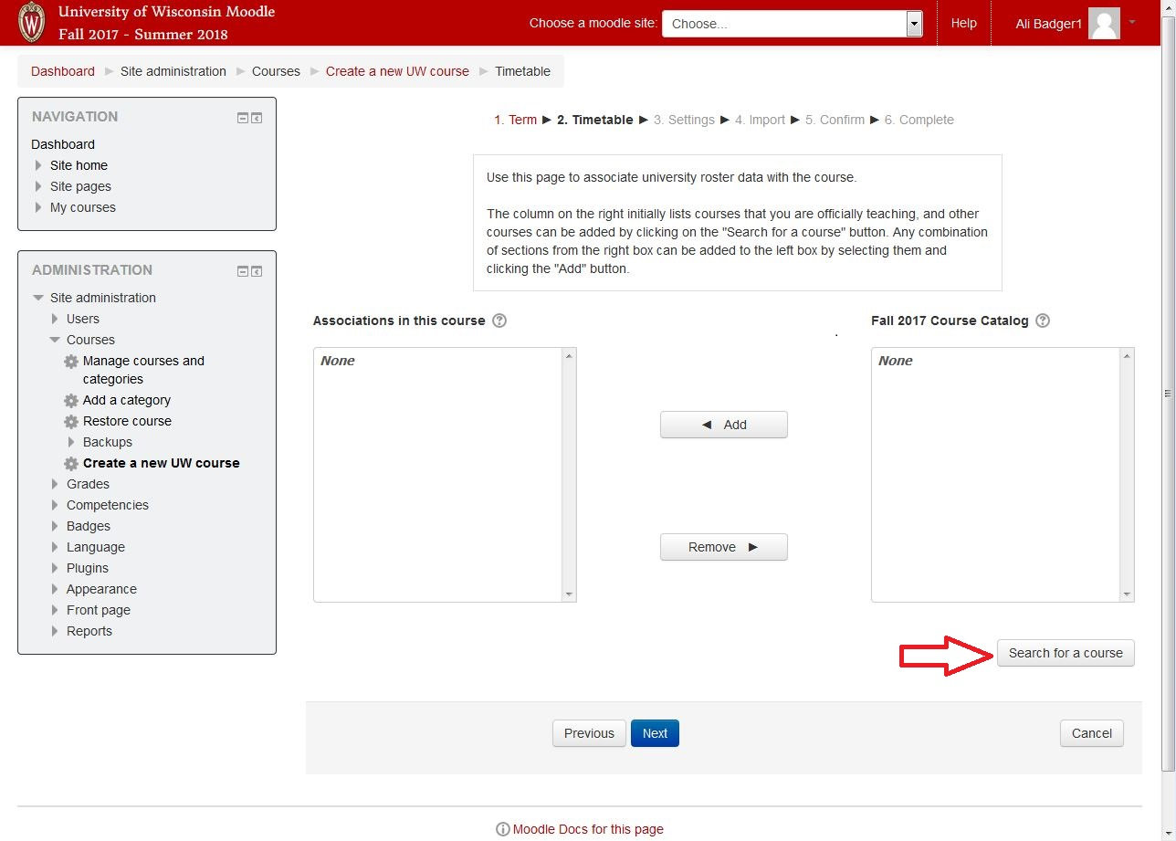 Screenshot of UW Madison showing course creator step 2, indicating where to click to find your course from a list of timetable courses.