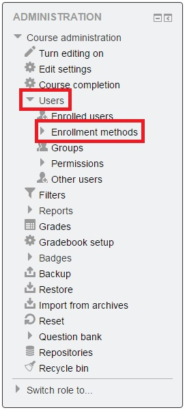 Navigation Block to users to Enrollment methods