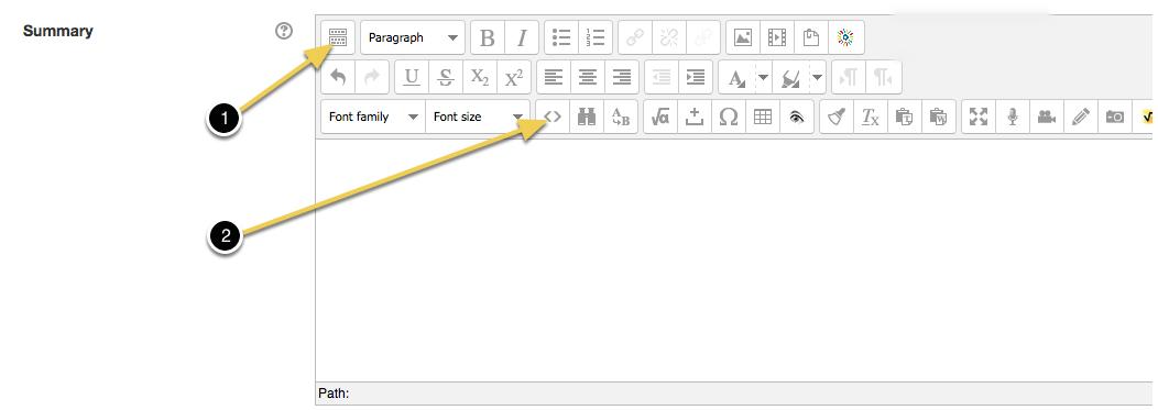 Screenshot of Moodle WYSIWYG editor