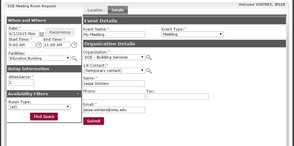 Adding contact information