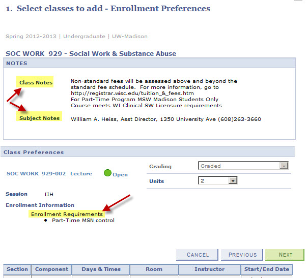 Class Preference page has contact information