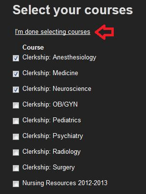 I'm done selecting courses