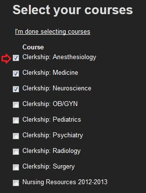 Select your courses