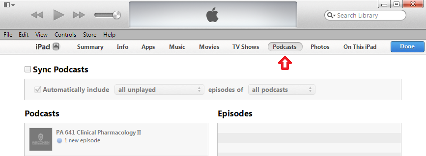 Podcast Button in iTunes
