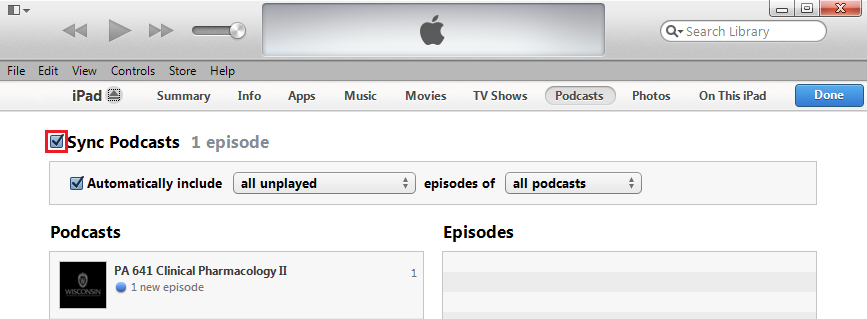 Sync Podcasts Checkbox