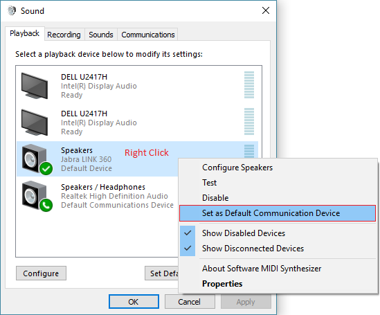 Right Click Set Default Device