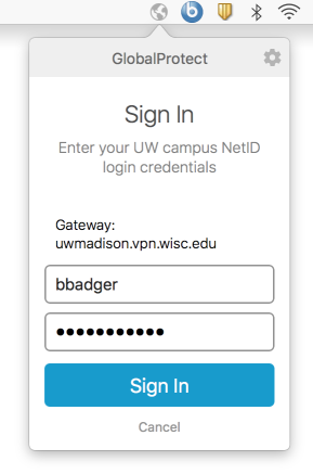 GlobalProtect NetID login window